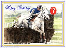 HORSE RACING DESERT ORCHID GOLD CUP  PAINTING BIRTHDAY CARD FREE POST 1ST CLASS