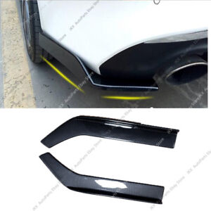Carbon Fibe Universal Fit Rear Bumper Lip Splitters Winglets PP 26X3.5 Inch 2PC