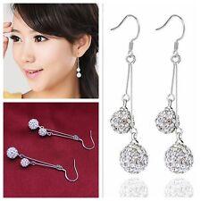 Hot 925 Sterling Silver Crystal Ball long Drop/Dangle Hook Earrings