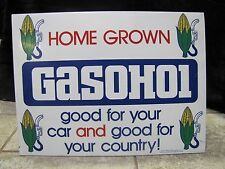 Original 1970's GASOHOL gas auto oil advertising SIGN double sided pump top Corn