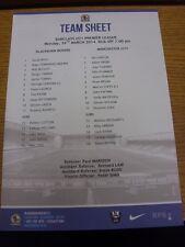 24/03/2014 Blackburn Rovers U21 v Manchester City U21  (single sheet). Thanks fo