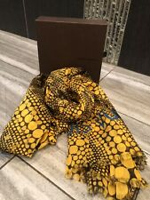 Louis Vuitton LV x Yayoi Kusama Stole Scarf Monogram dot Yellow Cotton Auth RARE