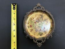 """Decorative Porcelain 5"""" jewelry/soap/candle dish with brass detail"""
