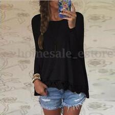 S-5XL Zanzea Women Long Sleeve Round Neck Loose Lace Detail Tops Blouse Shirt