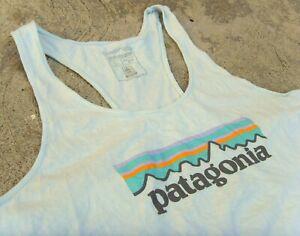 Patagonia Organic Cotton P-6 Logo Tank Top Women's Large Atoll Blue
