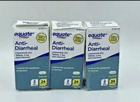 EQUATE ANTI-DIARRHEAL, 2MG, LOT OF 3, 72 CAPLETS, NEW