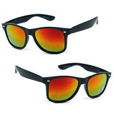 39df99ac9c Polarized Retro Square Frame Sunglasses Matte Black Frame Red Fire Mirror