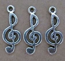 PJ12 12pc Retro Tibetan Silver Charm Music Beads Accessories Jewelry Findings