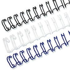 """1"""" 2:1 Twin Loop Wire O Binding Spines 21 loop-50/box, Black, White, or Navy"""