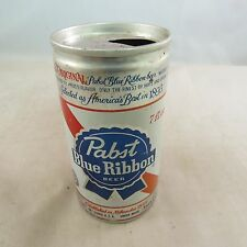Pabst Bue Ribbon Beer can, empty 7 oz, pull top can