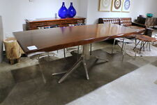 "94"" L Dining table solid mahogany wood top polished nickel base iron tree design"