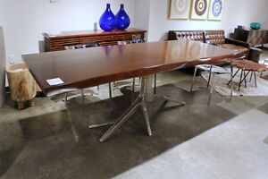 """94"""" L Dining table solid mahogany wood top polished nickel base iron tree design"""