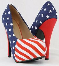 78936edcff1b USA American Flag Women High Heels Pump Up Shoes Hidden Platform Sexy  Stiletto