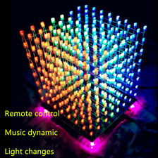 3D Electronic LED Light Cube DIY Kits 8x8x8 Music Spectrum 8S RGB Welded Board