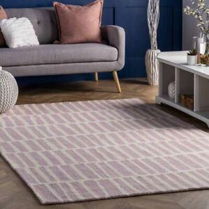 Pink Irregular Parallel Bars Loop Hand-Tufted 100% Wool Soft Area Rug Carpet