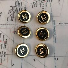Set Of 6 Chanel Gold/Black Button Metal
