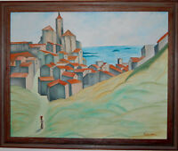 "Original Oil Painting ""VILLAGE BY THE SEA"" on Canvas 34"" x 28"" FRAMED (Art/Land)"