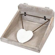 Gisela Graham Wooden Napkin Holder Shabby Chic Heart Vintage Square Dispenser