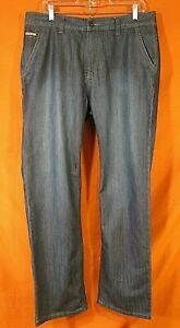 ARMANI JEANS Straight Leg Blue Denim Jeans With Flap Pockets Size 36/32
