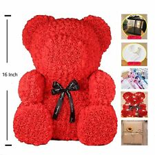 16 Inch Rose Teddy Bear Flower Perfect Gift With Box - Gift For Mother's Day