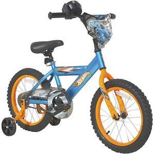 "16"" Boys Hot Wheels Kids Bike Rear Coaster Brake Removable Training Wheels Blue"