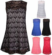 Hip Length Lace Sleeveless Tops & Shirts for Women