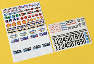 RC 10th Scale LOMBARD RAC RALLY GROUP B 1980s stickers decals door numbers logos