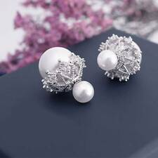 925 Silver needle  Women Crystal  Double Sided Pearl Ball  Ear Stud Earring