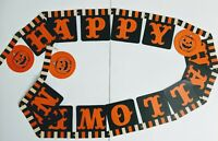 Vintage Jointed Happy Halloween Banner Streamer Pumpkins black and orange 108""