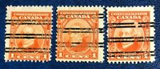 CANADA 1927 # 141xx- 60th ANN. OF CONFEDERATION- 1c orange 3 PRECANCEL STAMPS