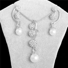 Silver Gold Plated Crystal Pearl Bridal Wedding Jewelry Sets Necklace Earrings