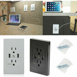 USB Wall Outlet Dual Ports Charging with 15A 120V Electrical Receptacle US Plug