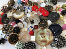 Antique Buttons Sewing Metal Cut Steel Mop Glass Lot velvet jewelry box Vintage