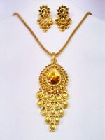 Indian Designer Wedding Golden Necklace Earrings Set Bollywood Fashion Jewelry