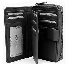 Ladies Soft Leather Black Wallet Purse - Vintage 51 - Black 86