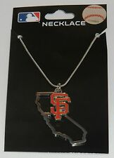 San Francisco Giants State Shape Charm w/ Team Logo Chain Necklace MLB Licensed