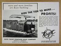 1958 Kaye Yacht KAYOT Pontoon Boats boat photo vintage print Ad