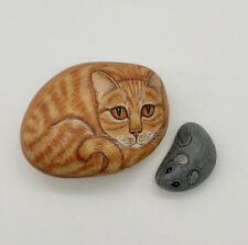 Hand Painted Cat And Mouse Rocks Realistic Signed