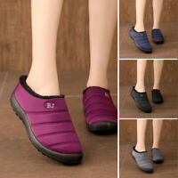 Womens Winter Warm Slippers Mules Fur Lined Indoor Outdoor Waterproof Snow Shoes