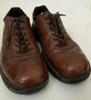 ECCO Men's EU 45  US 11 Brown Leather  Lace Up Stitched Shoes