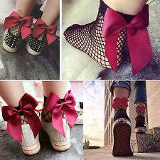 Pair of Fishnet Hollow Out Ankle High Socks Ribbon-Look Bow Accent Lolita Pin-Up