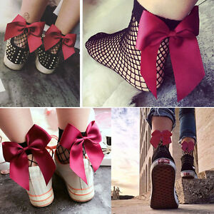 SALE Pair Fishnet Hollow Out Ankle High Socks Ribbon Bow Accent Lolita Pin-Up US