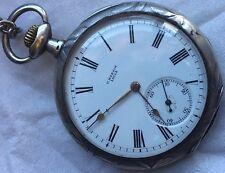 U. Nardin Pocket Watch open face silver carved case 51 mm. in diameter