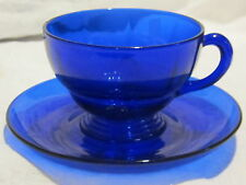 New Martinsville Moondrops Cobalt Blue Cup & Saucer & Creamer & Sugar