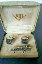Vintage SIR Silver Tone Cuff Links and Tie Clasp Set In Original Box