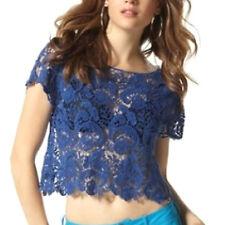 genial Top SPITZE sexy TRANSPARENT BLAU Gr.32/34/36 XS/S OBERTEIL Shirt