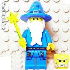 C108 Lego Kingdoms Blue Wizard Minifigure with Wand 7952 NEW ( 10193 lotr )