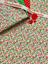 100% cotton fabric Vintage floral flowers ditsy rose green red SO PRETTY