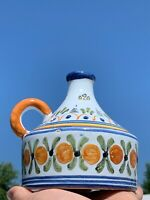Vintage Talavera Mexican Pottery UNIQUE Design Orange Jar Jug Pitcher 5/5 ❤️sj3j