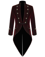 Men's VELVET VLADIMIR Tailcoat Steampunk Jacket Goth Victorian-BLACK, RED, BLUE
